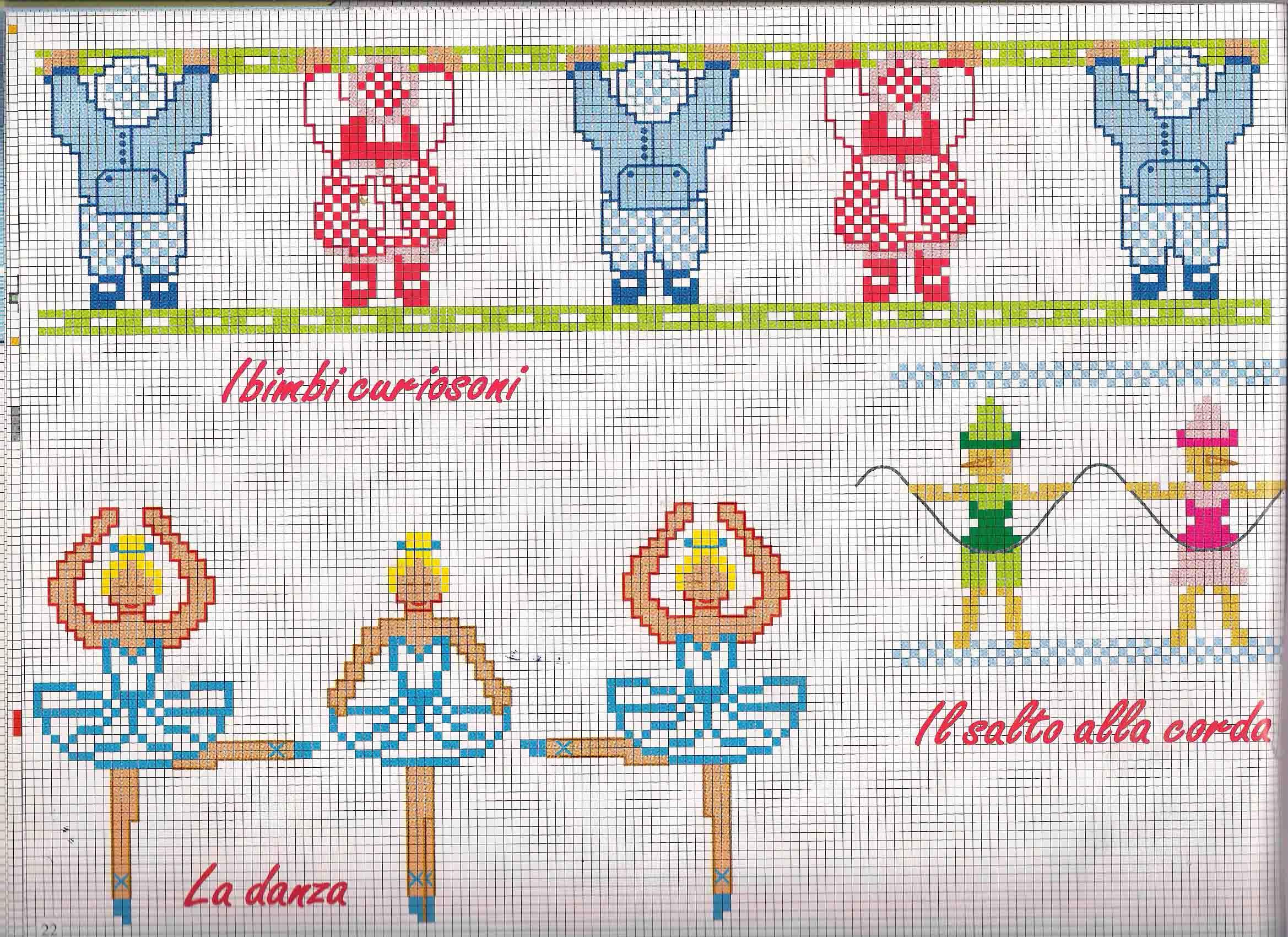 Bordi punto croce bimbi con ballerine for Punto croce bimbi schemi