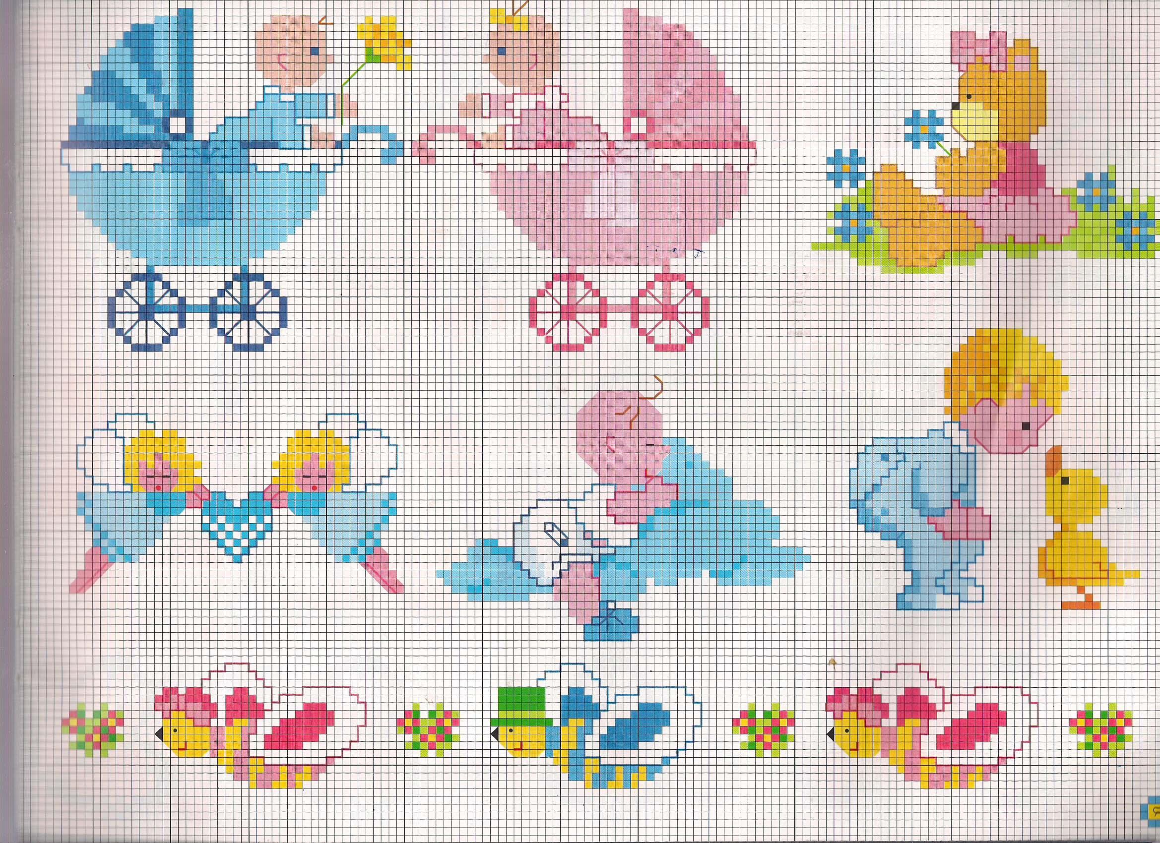 Carrozzine e beb con pannolini schemi punto croce for Ricami punto croce per lenzuolini