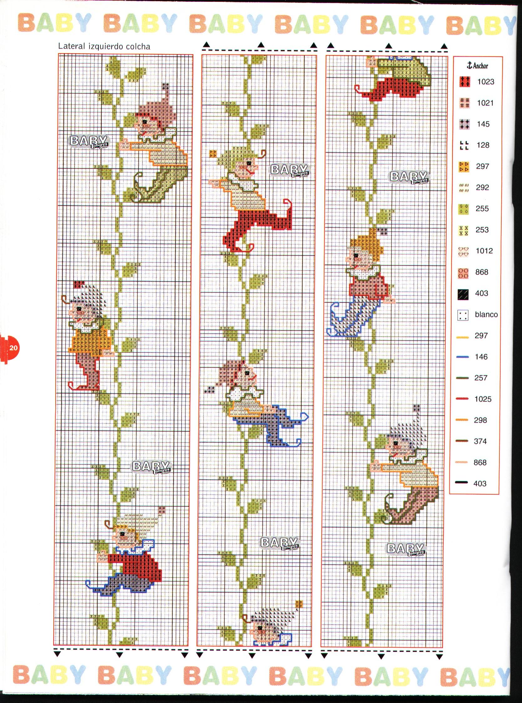 Copertina lettino e paracolpi con i folletti a punto croce for Disegni a punto croce per neonati