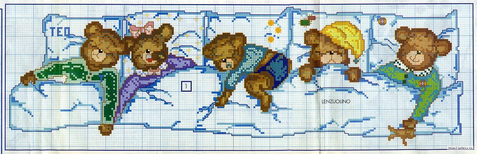 Lenzuolino orsetti che dormoni punto croce 2 for Schemi lenzuolini punto croce