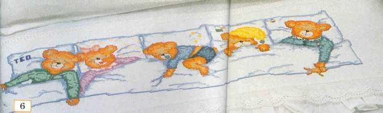 Lenzuolino orsetti che dormoni punto croce 1 for Schemi lenzuolini punto croce