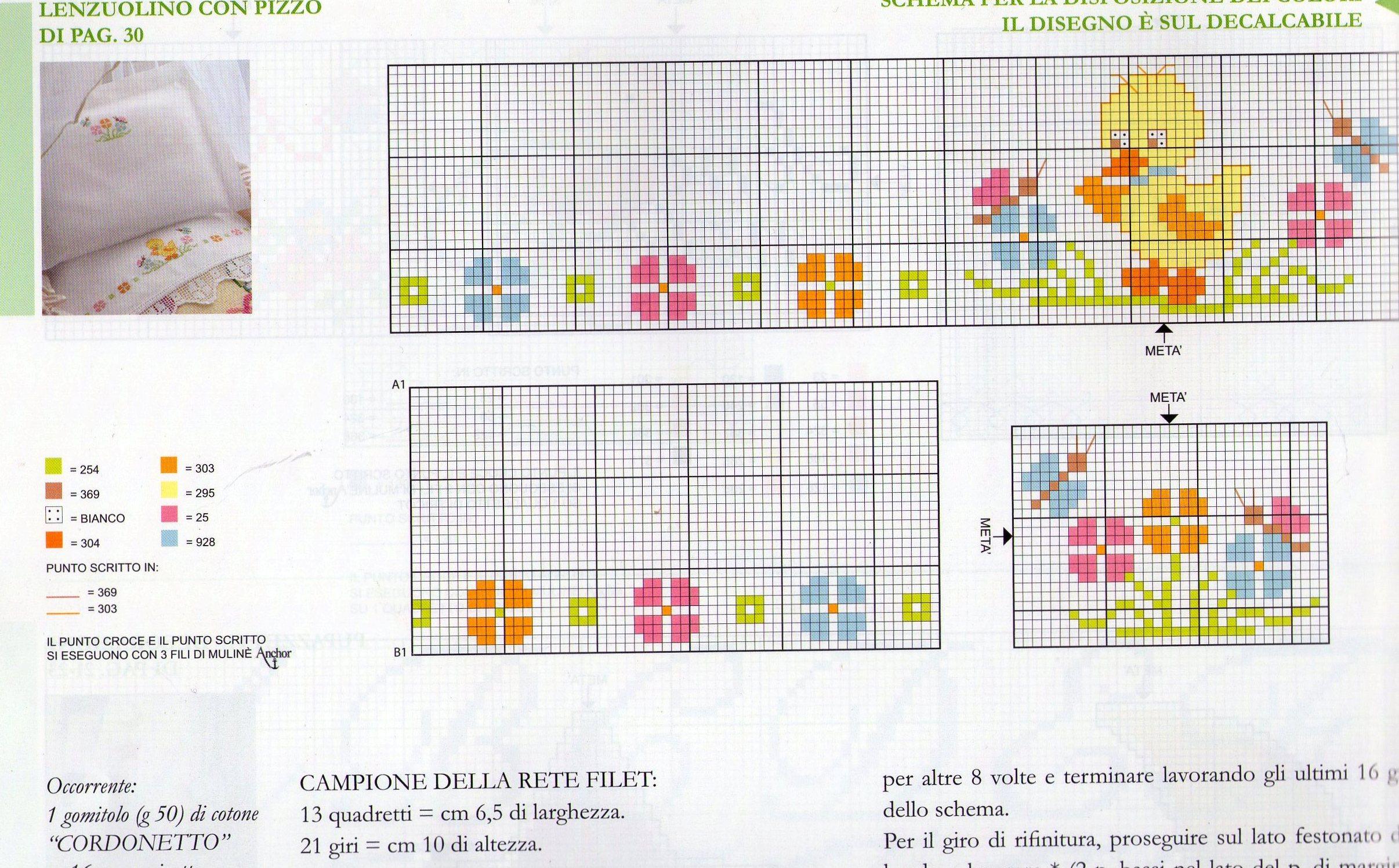 Lenzuolino pulcino punto croce punto for Schemi lenzuolini punto croce