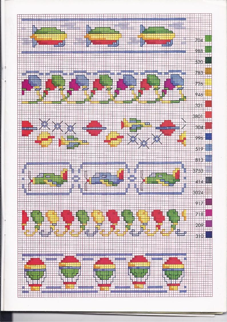 Bordi punto croce bambini con palloncini e mongolfiere for Bordi punto croce