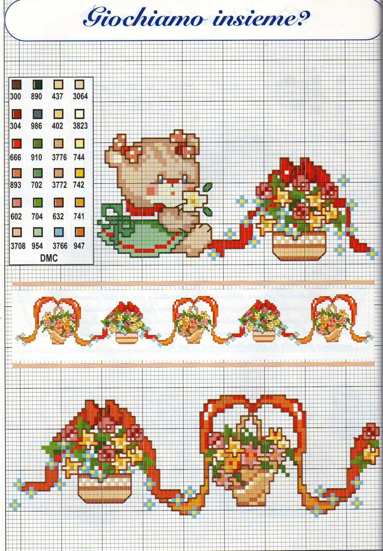 Bordi punto croce bambina con orsacchiotti rossi 1 for Punto a croce bambini