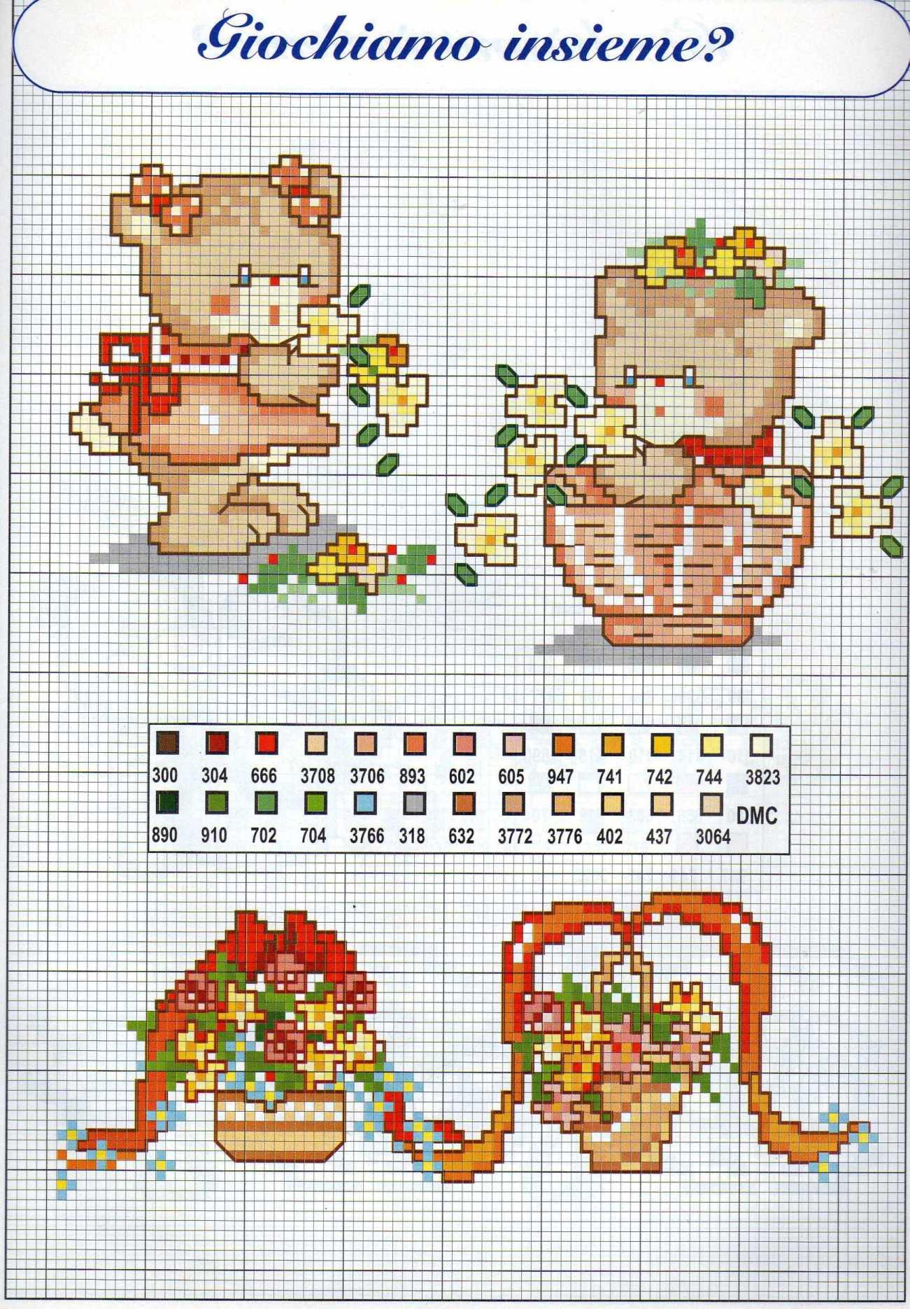 Bordi punto croce bambina con orsacchiotti rossi 2 for Bordi punto croce