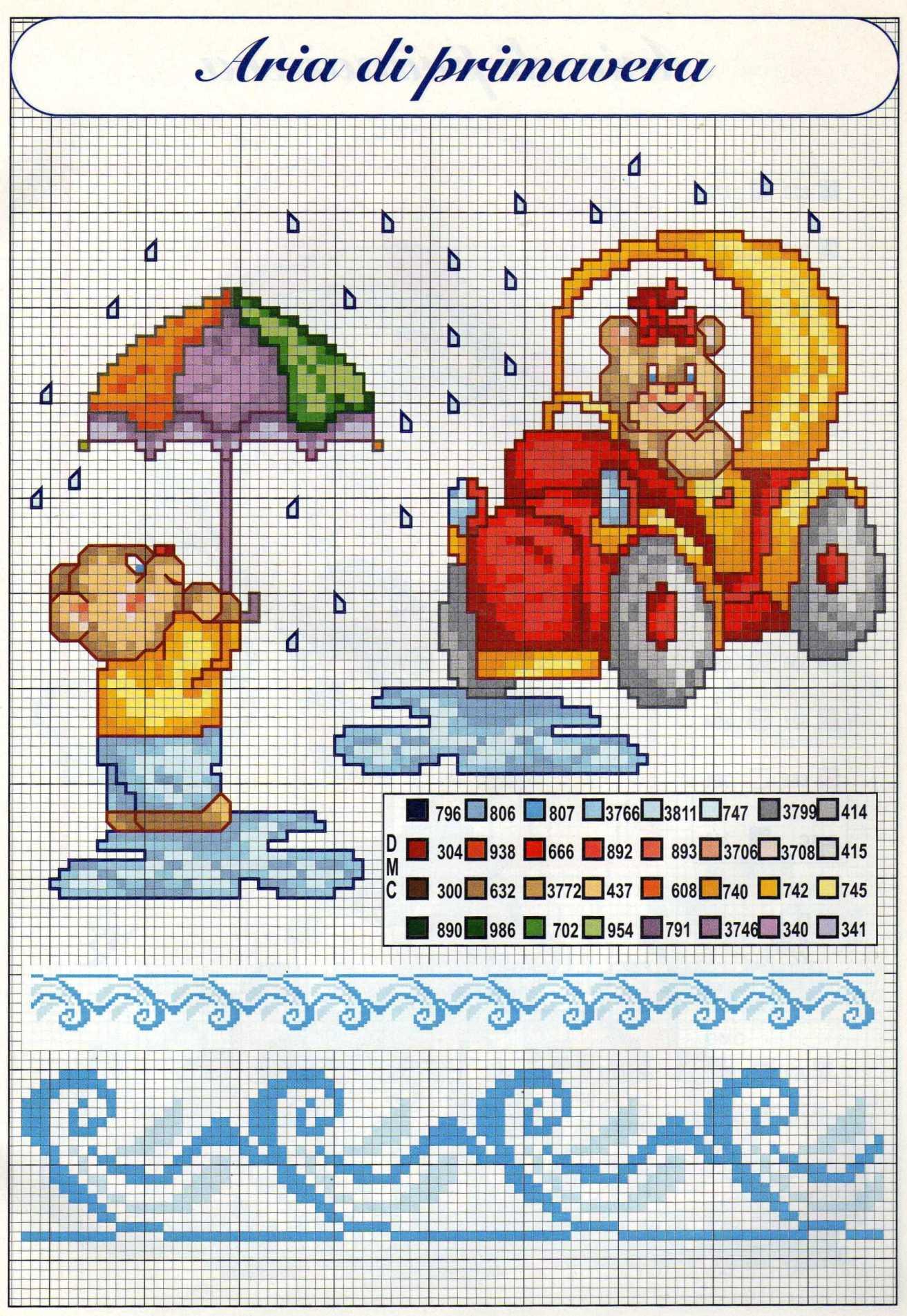 Gli orsetti sotto la pioggia schemi da ricamare punto for Iniziali punto croce bambini