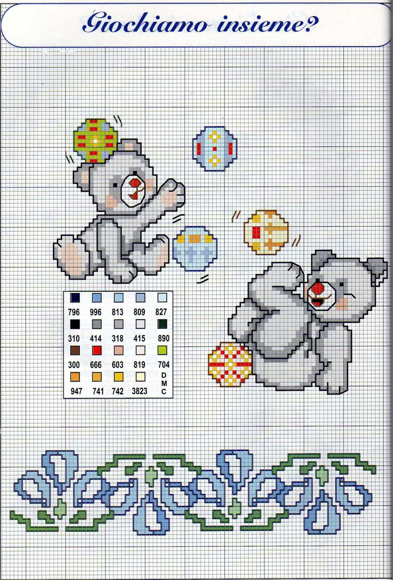 Orsetti grigi che giocano schemi punto croce nascita for Schemi punto croce bambini gratis