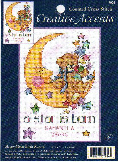 Schema quadretto nascita con orsetto sulla luna 1 for Schema punto croce orsetto
