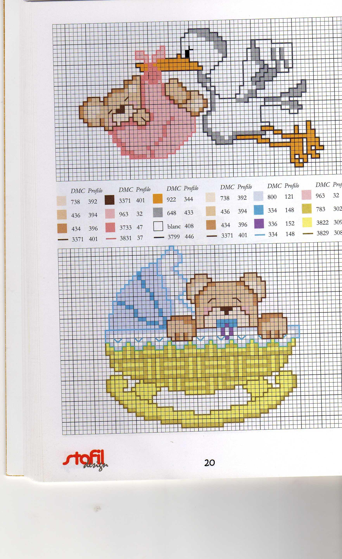 Cicogna con orsetto punto croce uncinetto for Punto croce bambini gratis