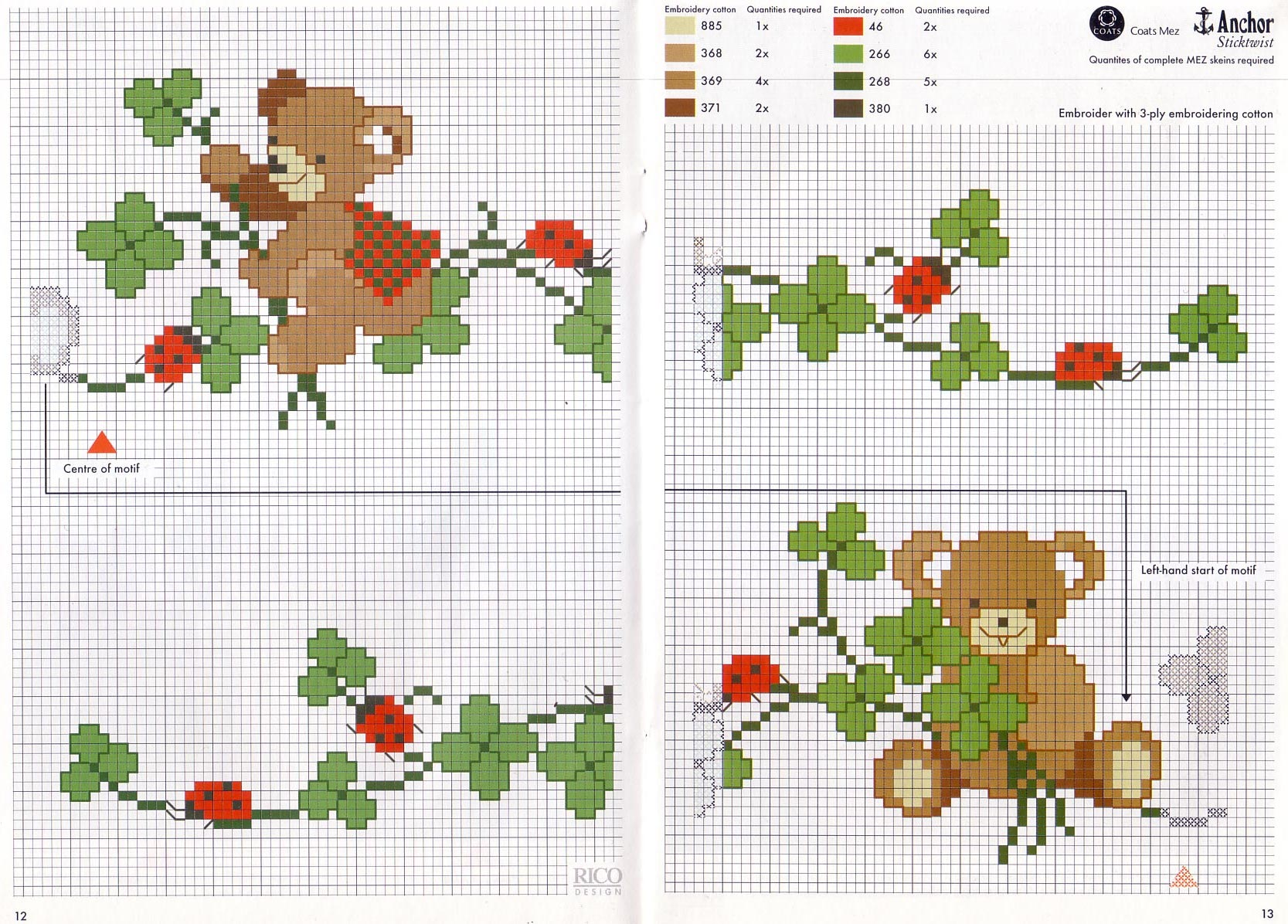 orsetti e coccinelle punto croce