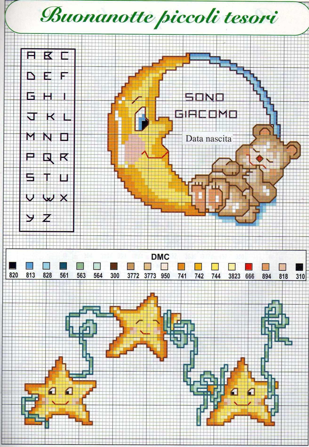 Luna e stelle schemi punto croce per bambini nascita 2 for Angioletti punto croce per bambini