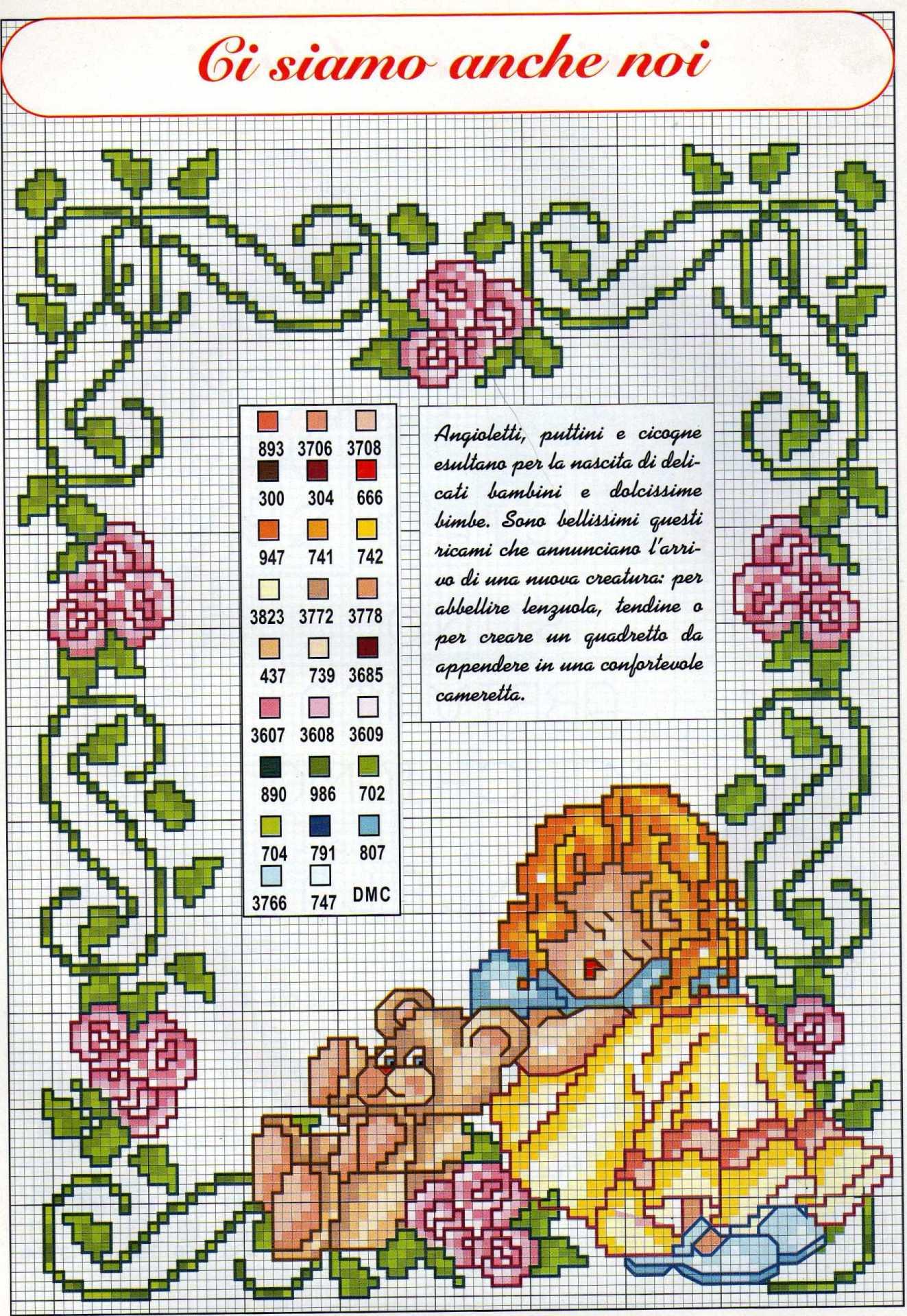 Quadretto nascita punto croce con bambina e orsacchiotto for Quadretto nascita punto croce