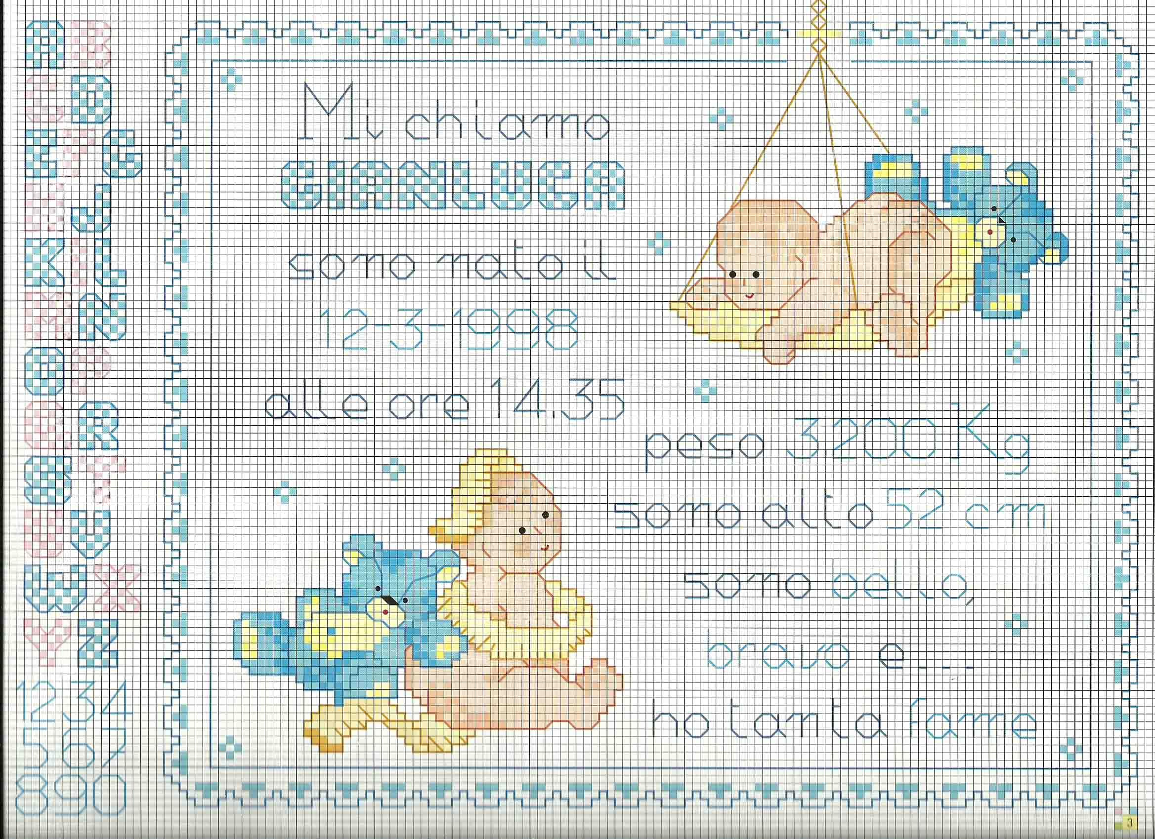 schema quadretto nascita punto croce con orsacchiotti blu