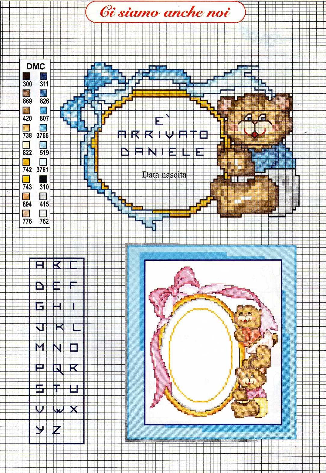 Bambini fiocco nascita orsetto punto for Punto croce bambini nascita