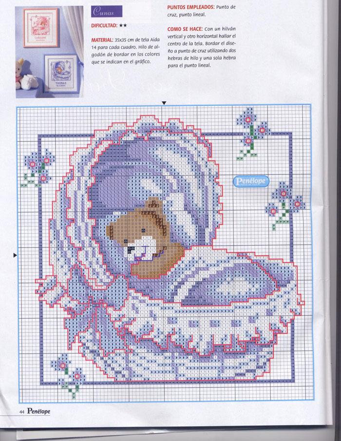 Nascita orsetto nella culla punto croce for Punto croce bambini nascita