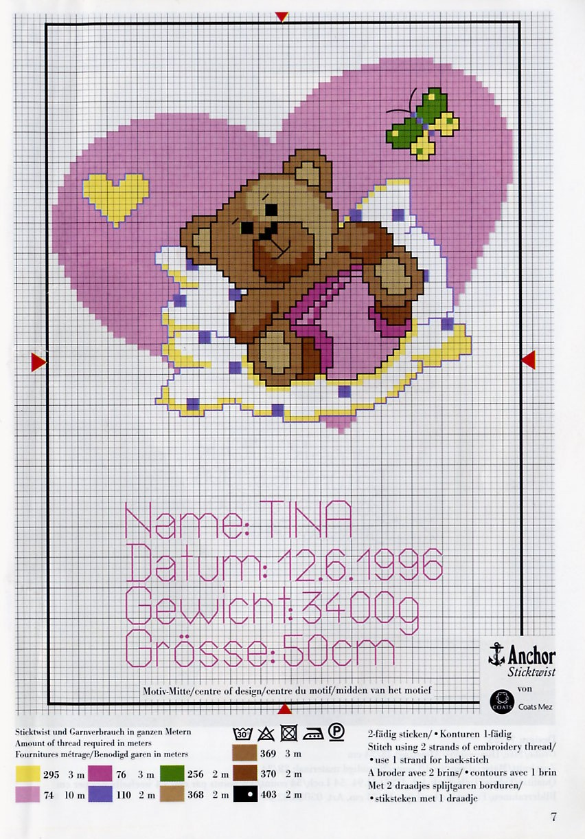 Quadretto nascita orsetto cuore 1 punto for Punto a croce bambini