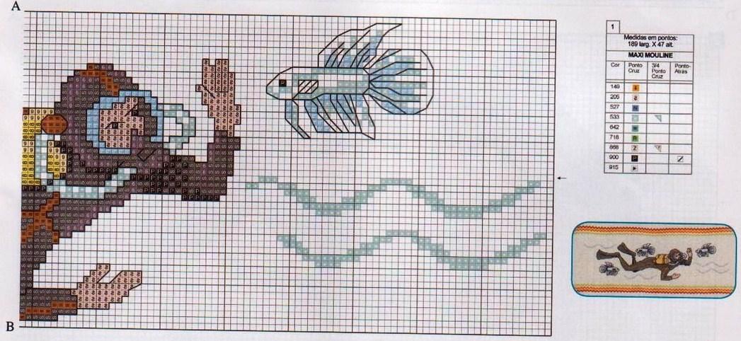 asciugamani sub mare punto croce (2) - magiedifilo.it punto croce uncinetto schemi gratis hobby ...