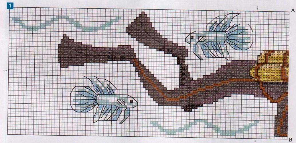 asciugamani sub mare punto croce (3) - magiedifilo.it ...