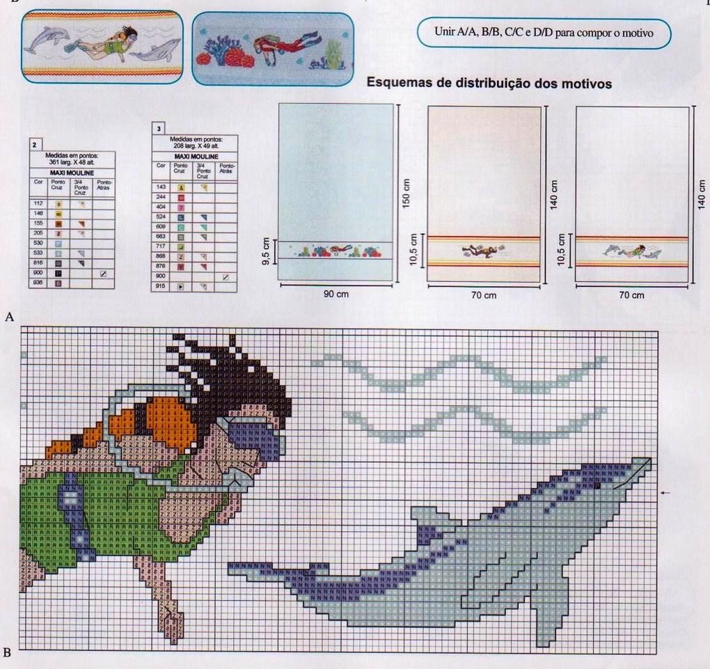 asciugamani sub mare punto croce (4) - magiedifilo.it ...