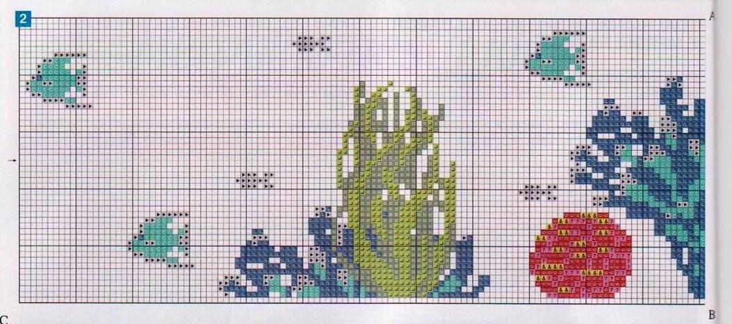asciugamani sub mare punto croce (5) - magiedifilo.it ...