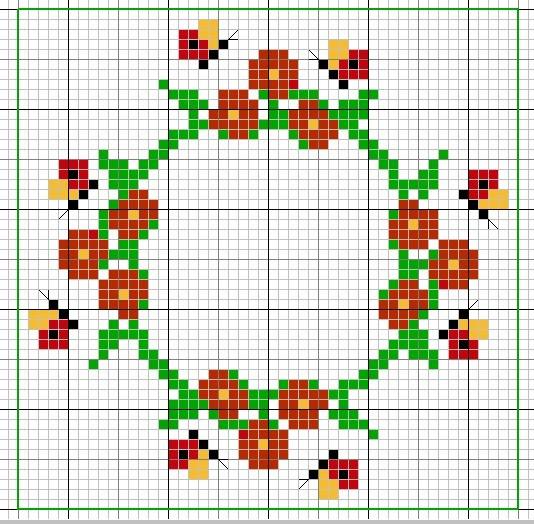 Biscornu fiori farfalle punto croce for Schemi punto croce fiori e farfalle