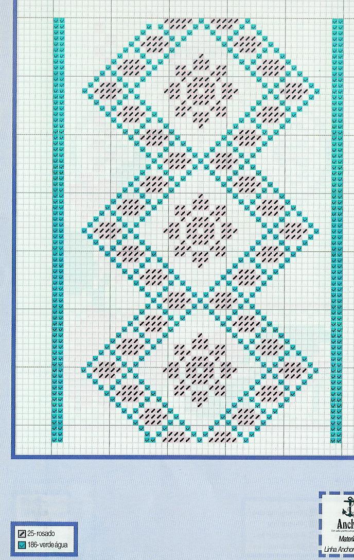 Bordo punto croce con motivi geometrici for Bordi punto croce