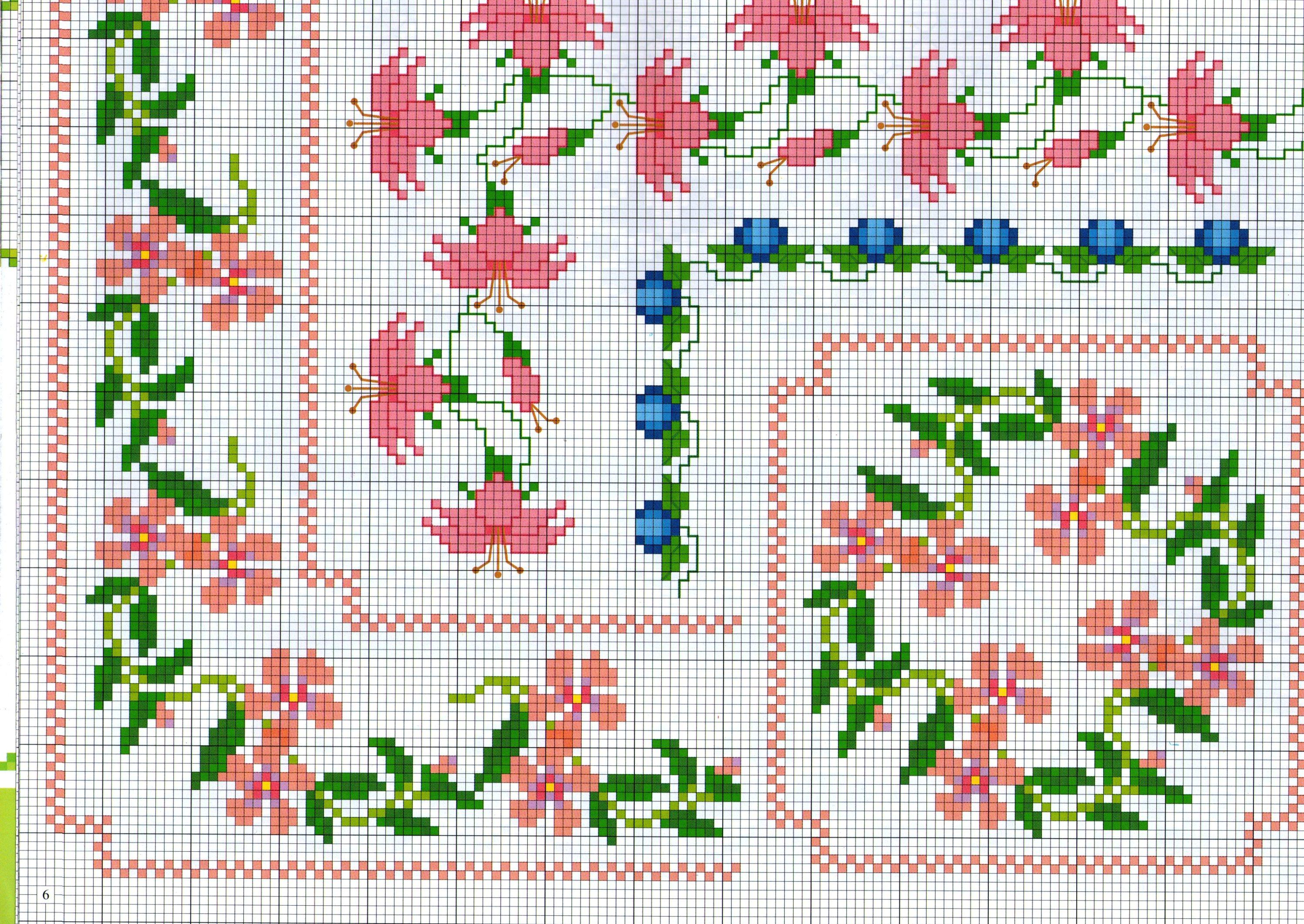 Alcuni bordi punto a croce con fiorellini rosa for Bordi punto croce
