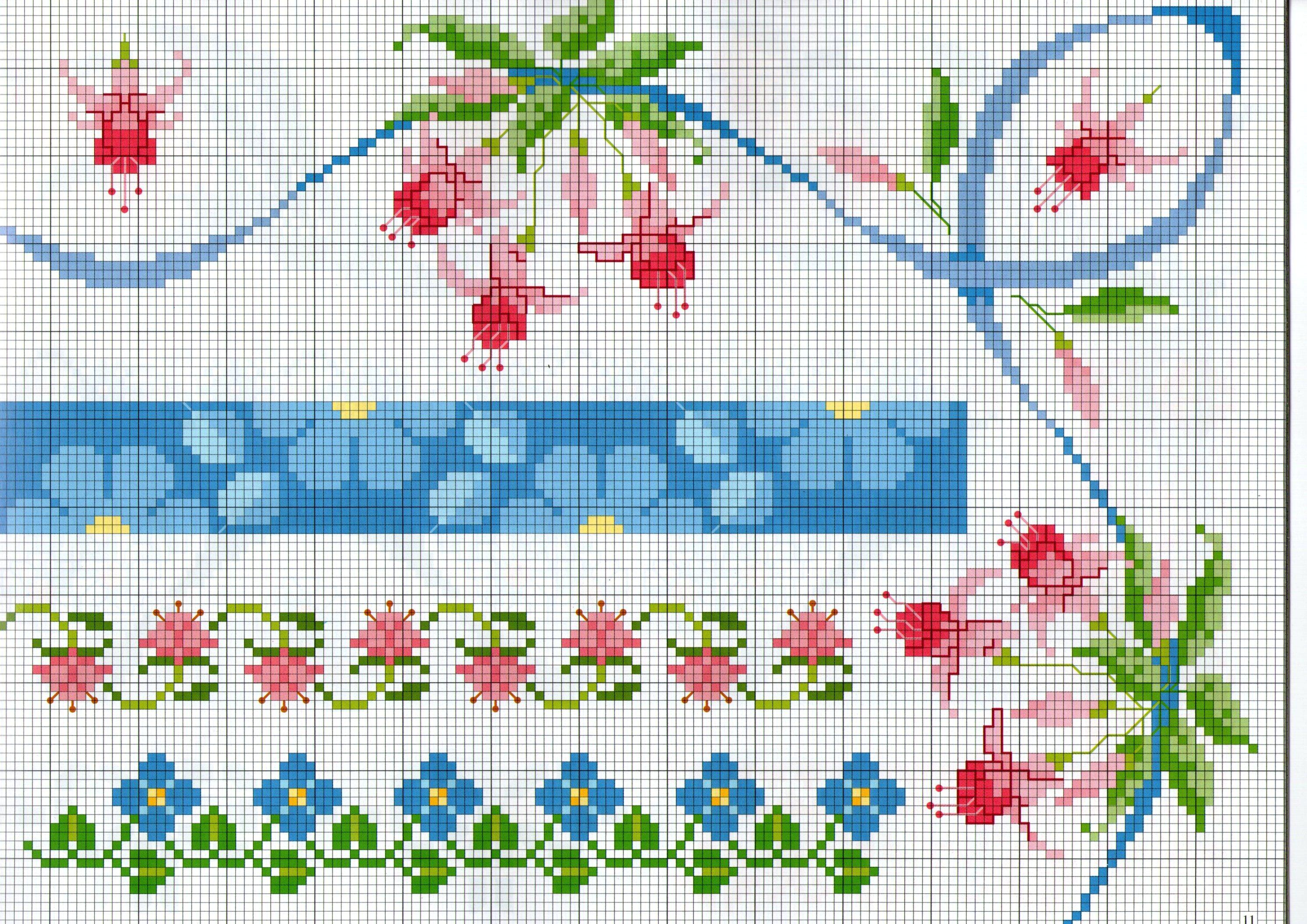 Bellissimi bordi punto croce con fiori campanelline rosa for Bordi punto croce