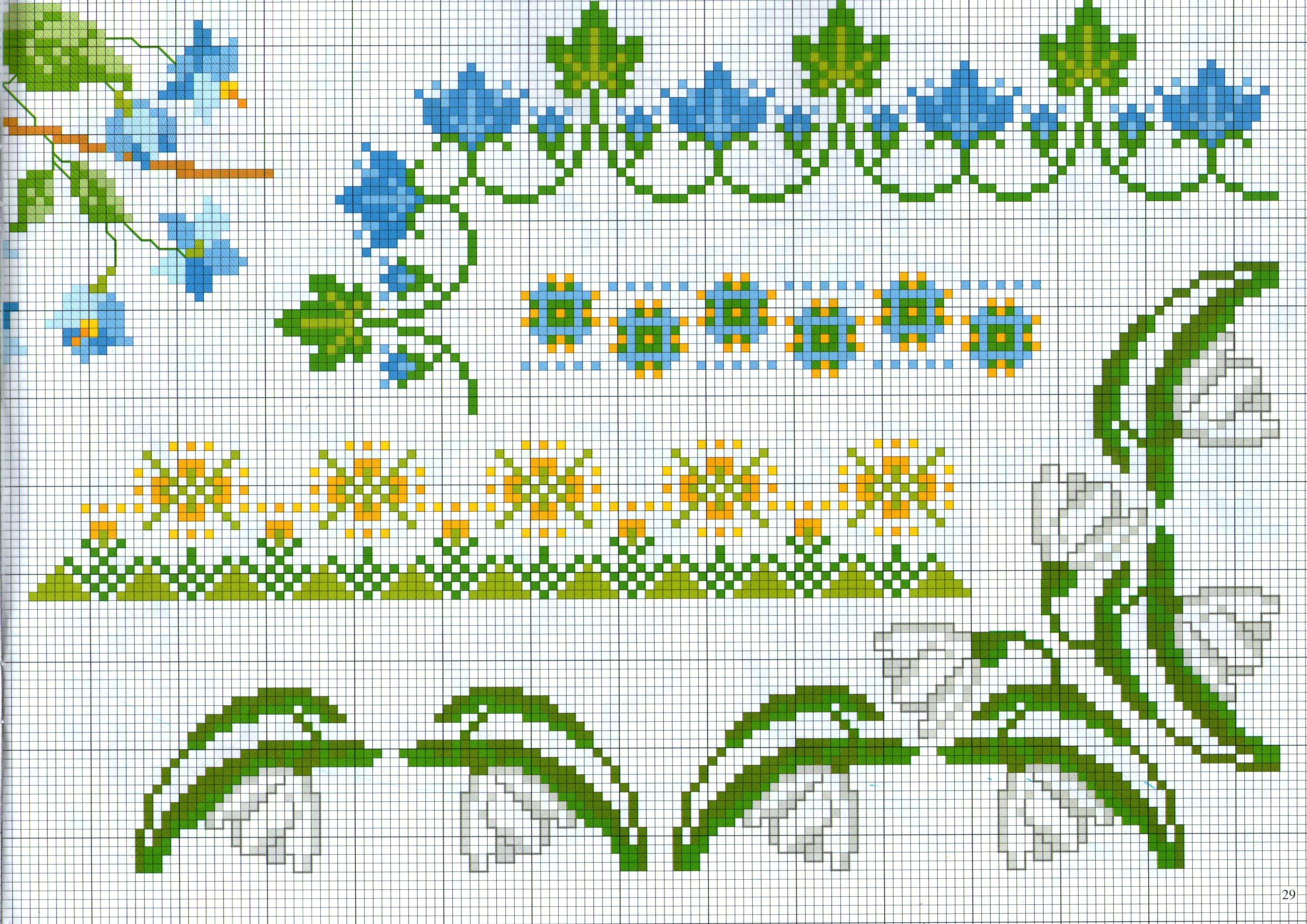 Bordi da ricamare con fiori bianchi e azzurri for Bordi punto croce