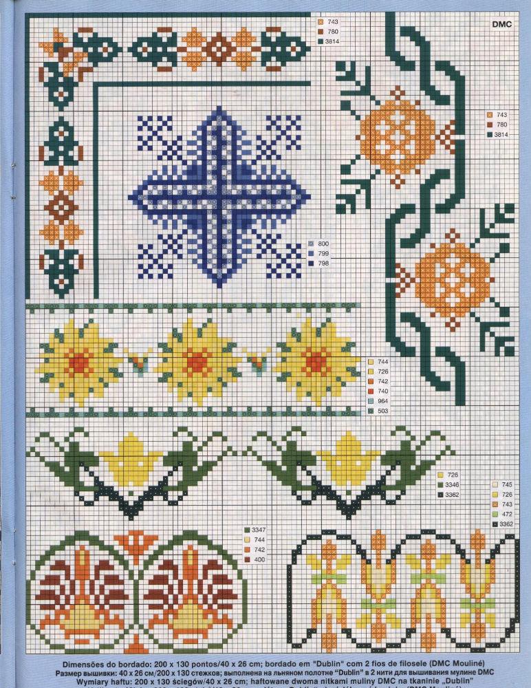 Bordi floreali 4 punto croce uncinetto for Bordi punto croce