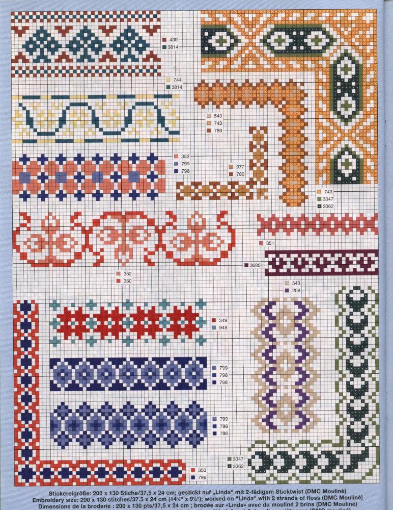Bordi floreali 6 punto croce uncinetto for Bordi punto croce
