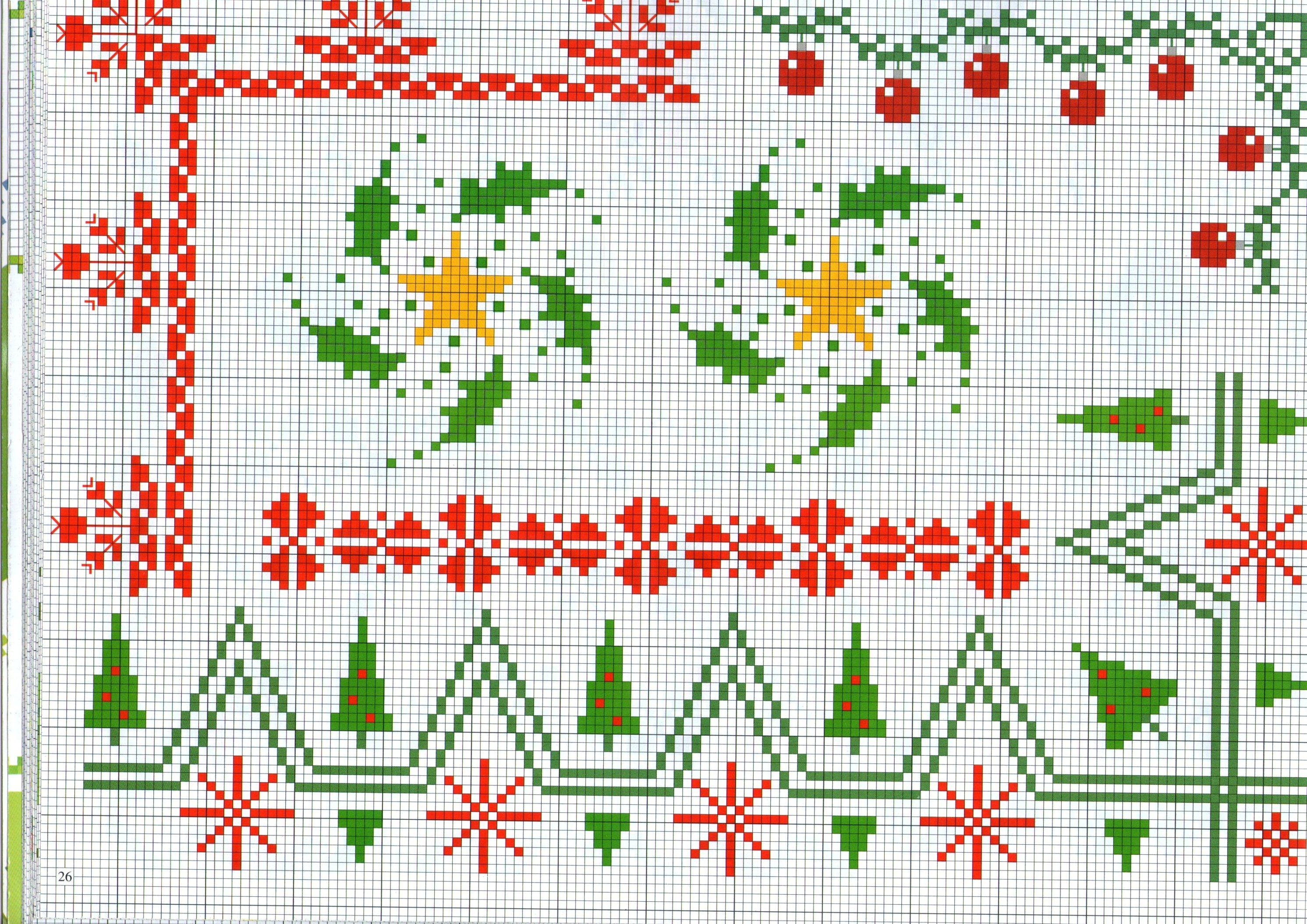 Bordi punto a croce a tema il natale con alberi e palline for Bordi punto croce