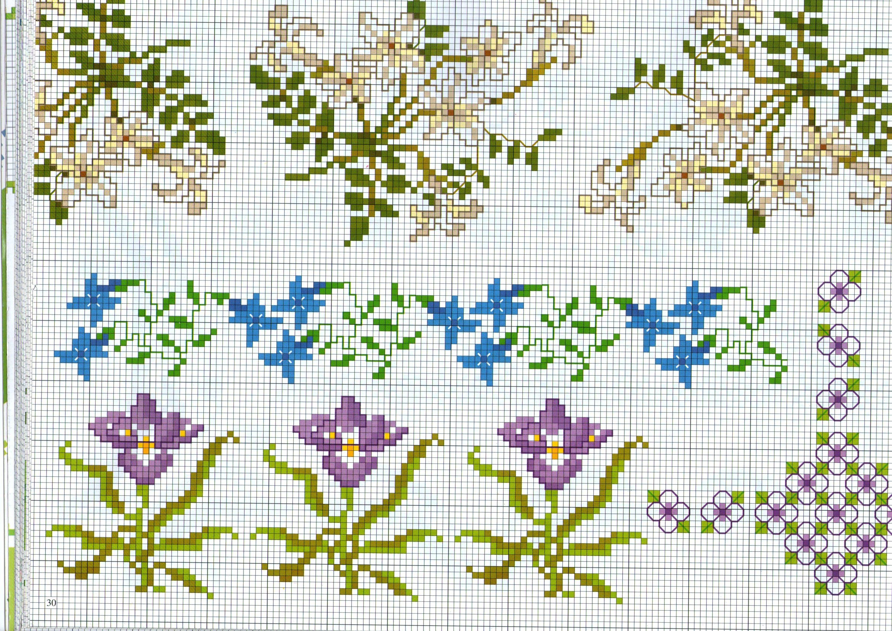 Bordi punto a croce con fiori di vario tipo magiedifilo for Bordi punto croce