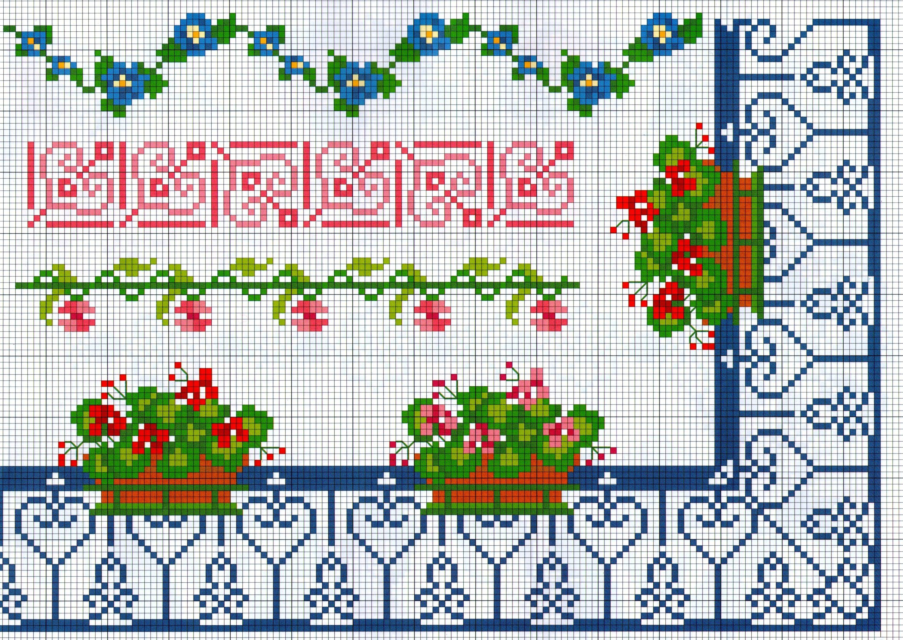 Bordi punto a croce con fiori geranei sul balcone for Bordi punto croce