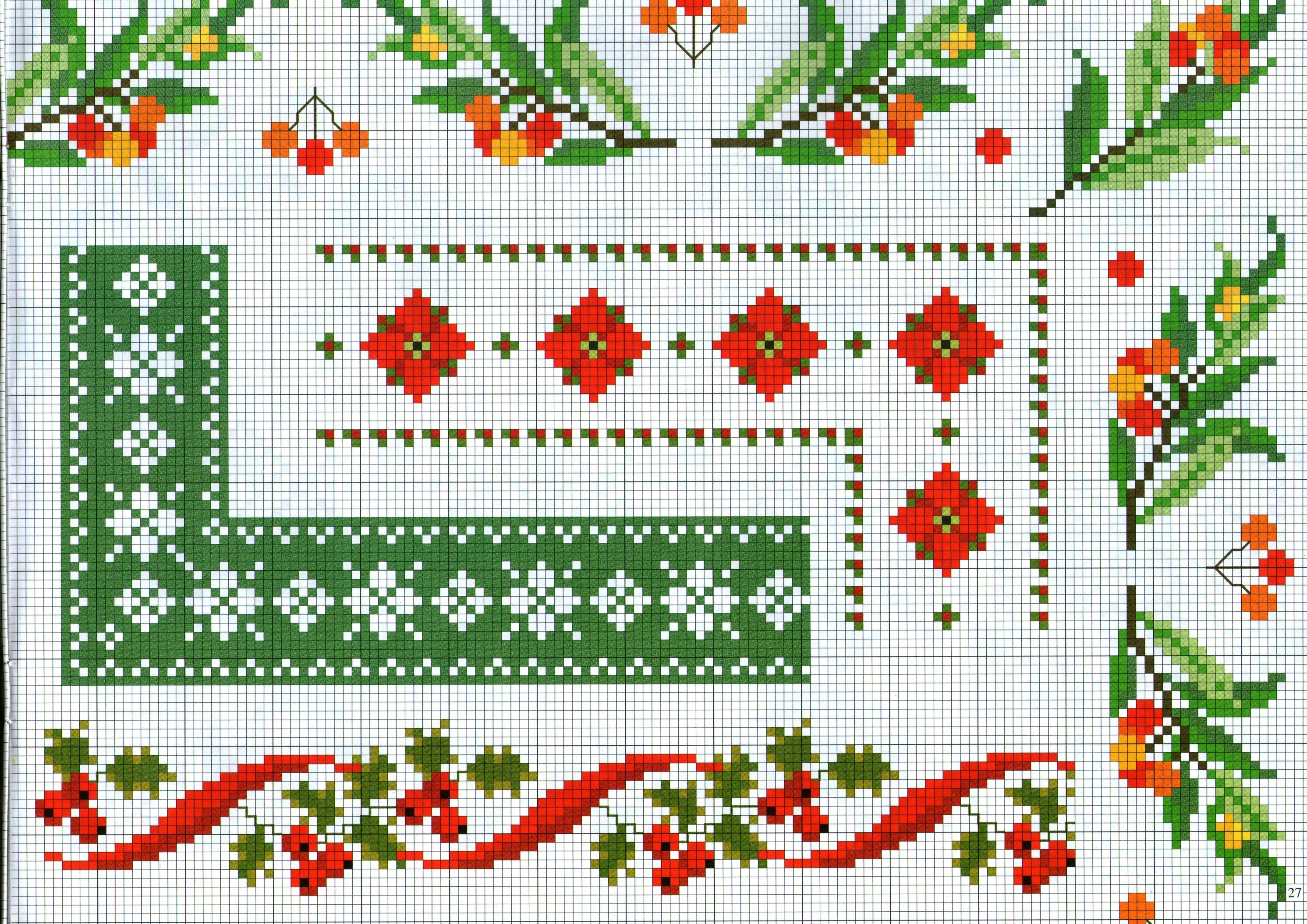 Bordi punto croce con bacche selvatiche e fiori color for Bordi punto croce