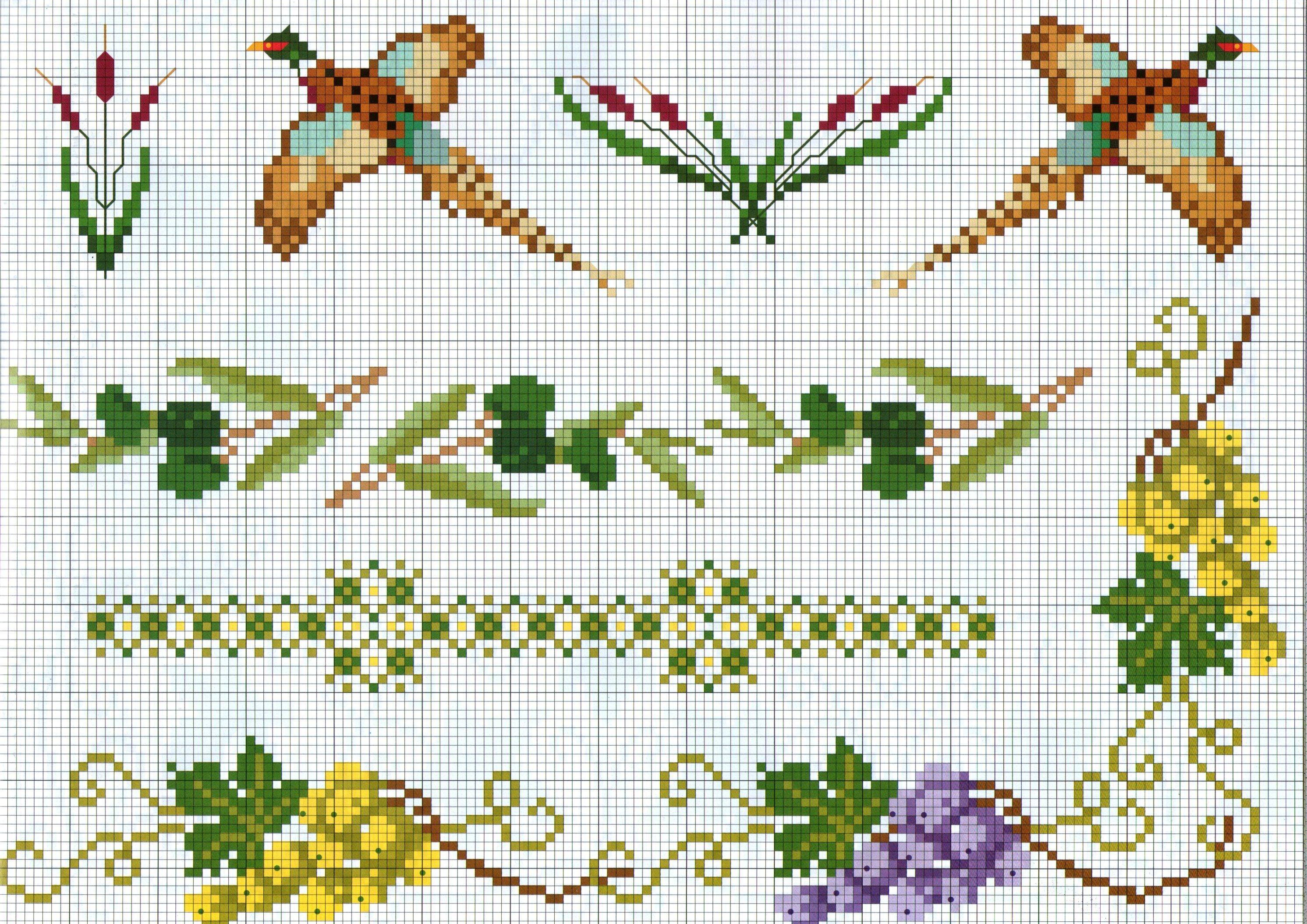 Bordi punto croce con fagiani e uva bianca e rossa for Bordi punto croce
