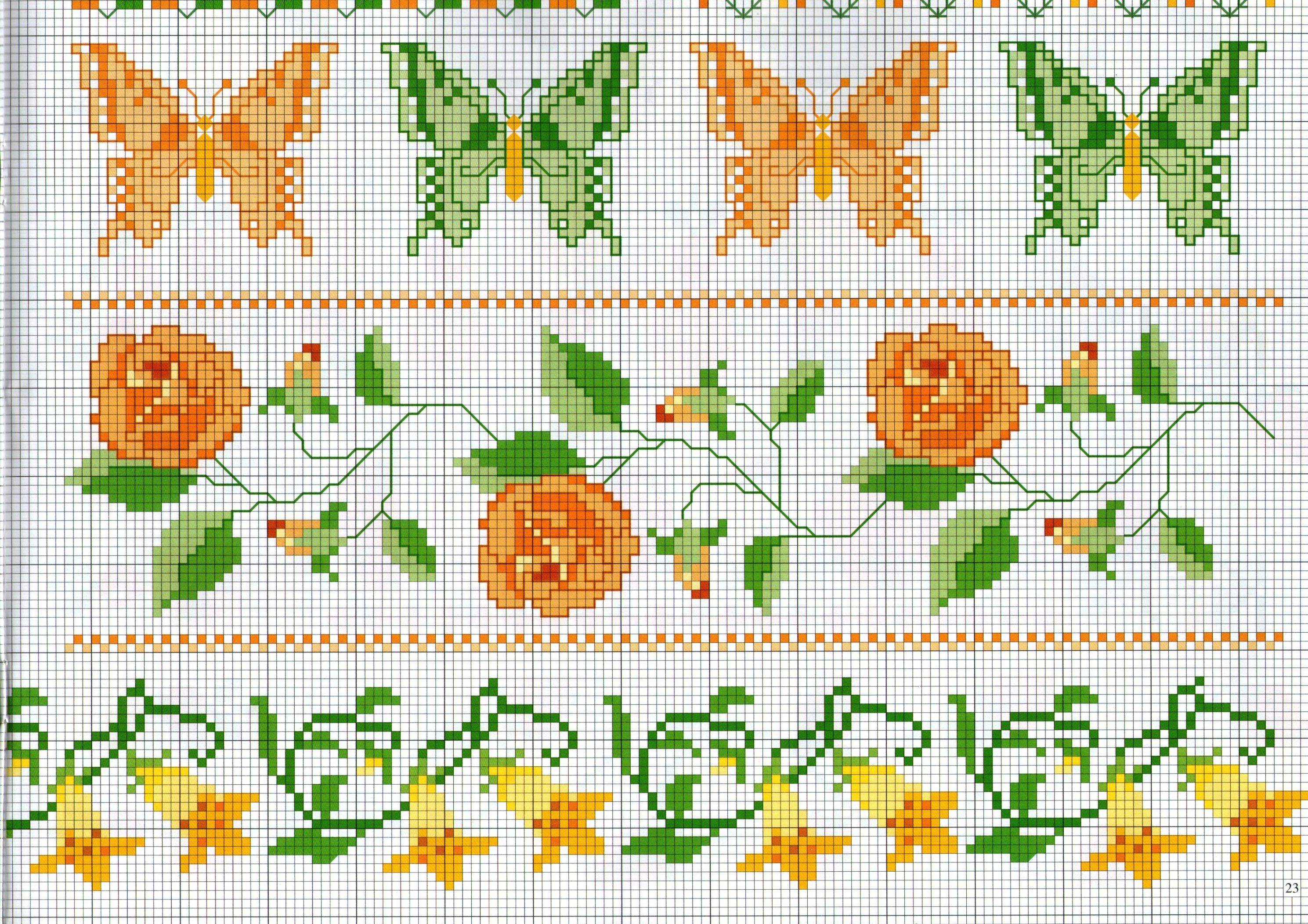 Bordi punto croce con farfalle e fiori for Punto croce fiori e farfalle
