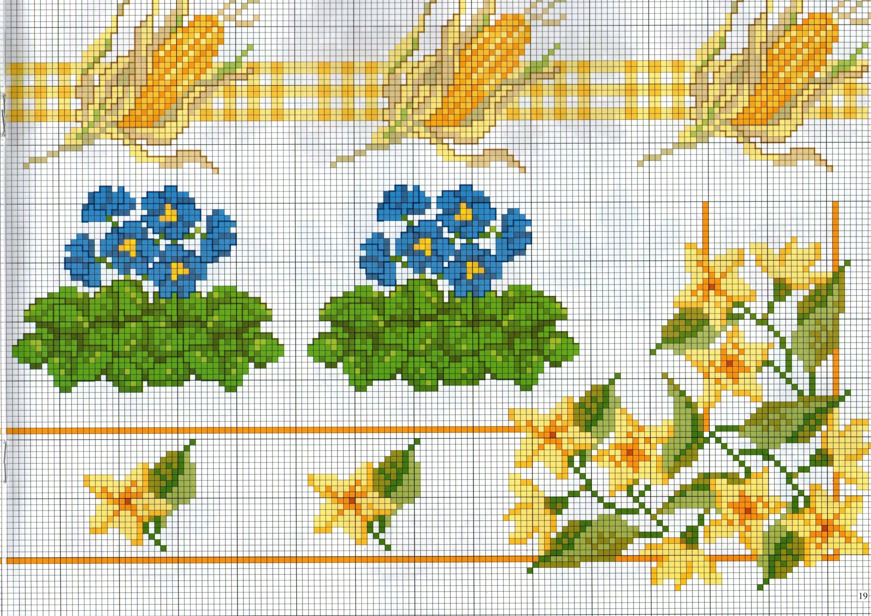 Bordi punto croce con pannocchie e fiori gialli for Bordi punto croce
