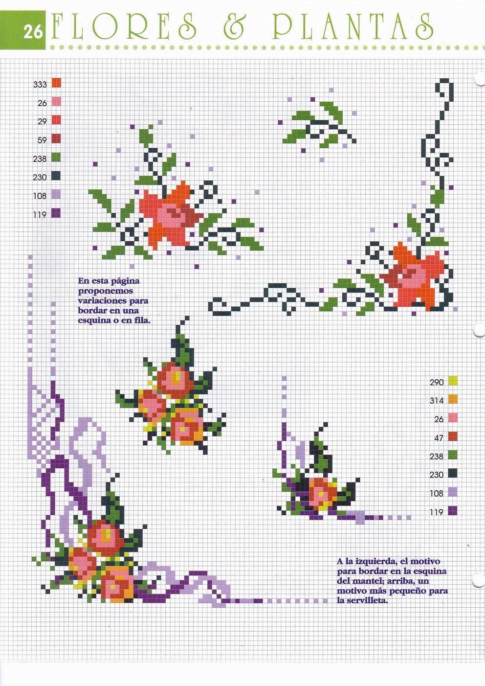 Bordo angolare fiorellini punto croce for Immagini di punto croce