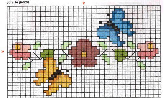 Bordo fiori farfalline punto croce for Farfalline punto croce