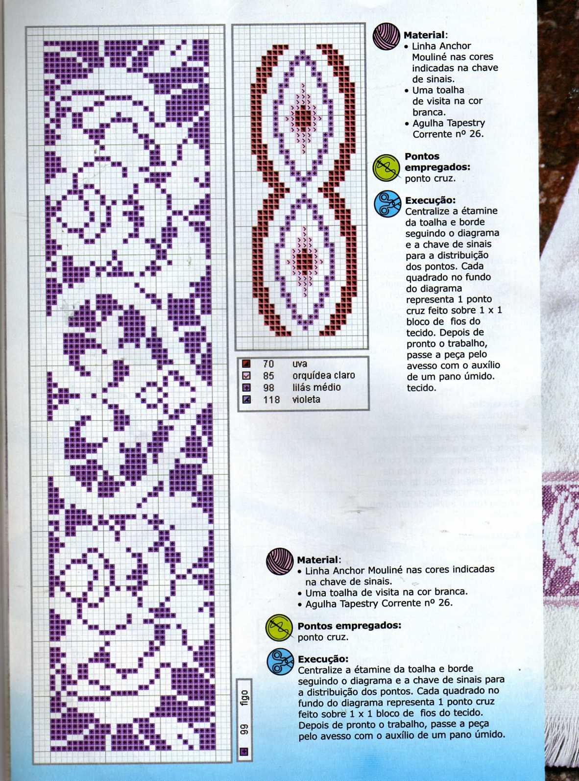 Bordura monocolore rose cuori punto croce for Bordure uncinetto schemi gratis