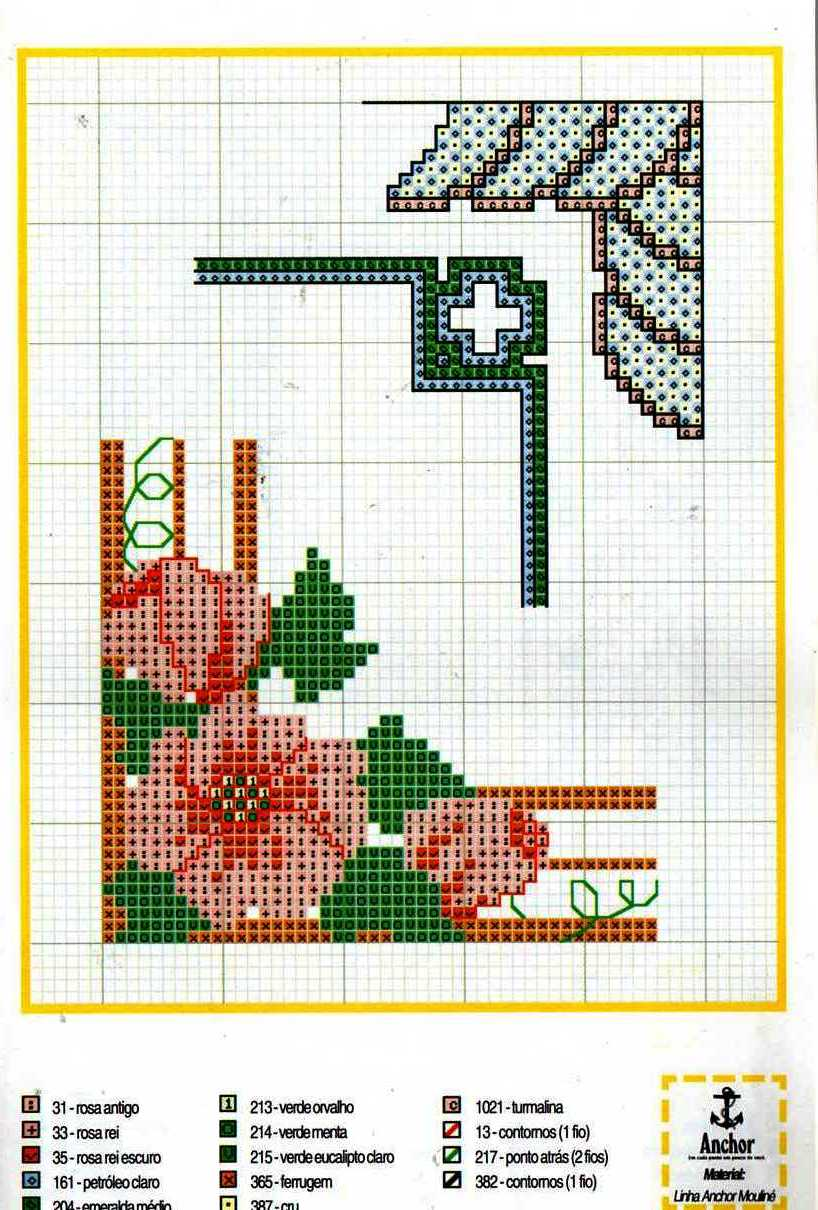 Bordure angolari fiori punto croce for Bordure uncinetto schemi gratis