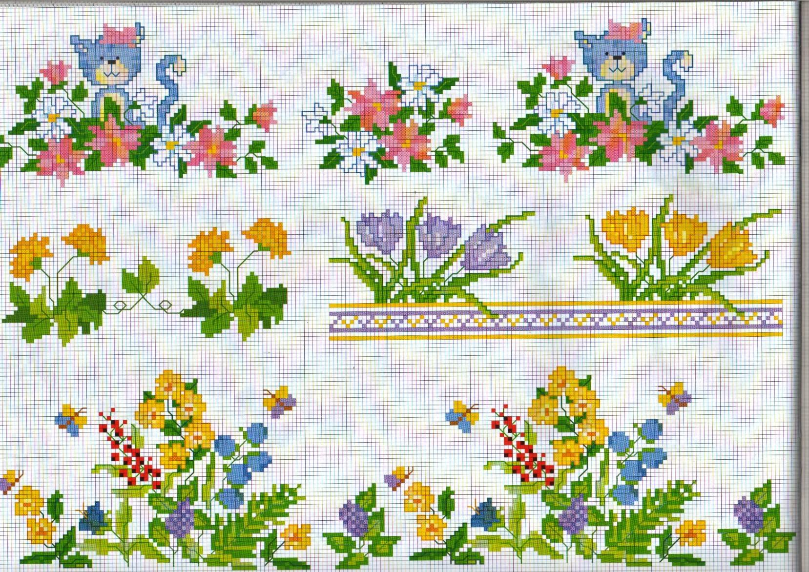 Bordure fiori campo farfalle punto croce for Bordi punto croce