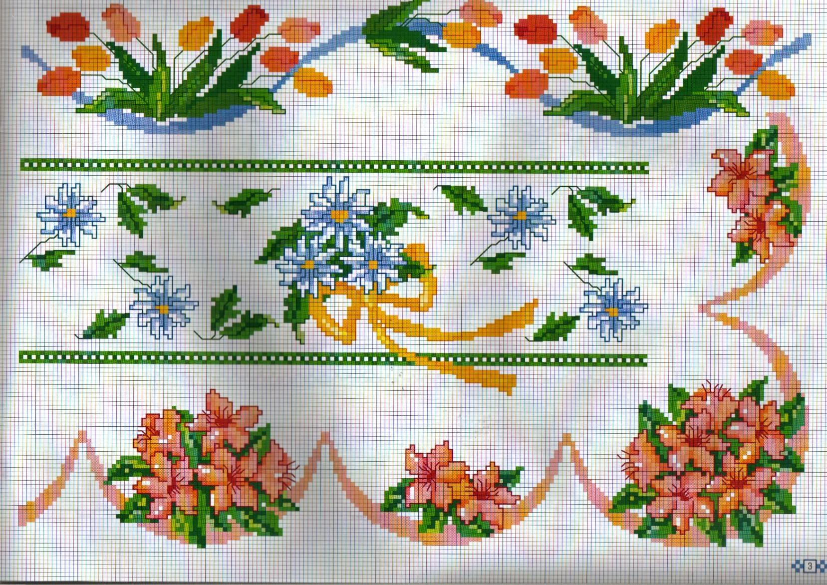 Bordure fiori gigli punto croce uncinetto for Bordure uncinetto schemi gratis