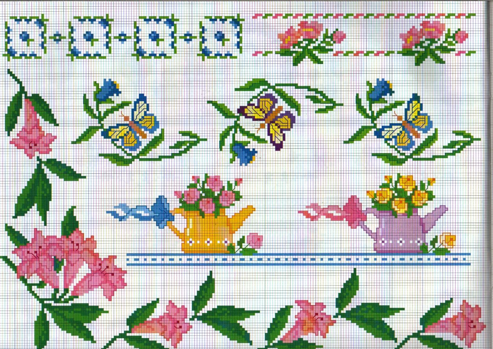 Bordure giardino annaffiatoi farfalle for Farfalle punto a croce