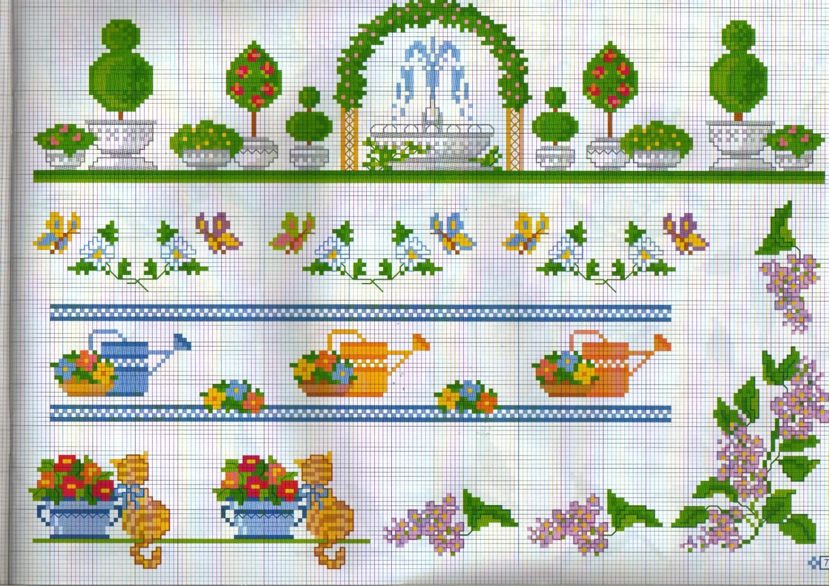 Bordure giardino fontana punto croce - Punto jardin ...