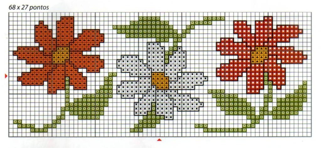 Bordure margherite semplici punto croce for Bordure uncinetto schemi gratis