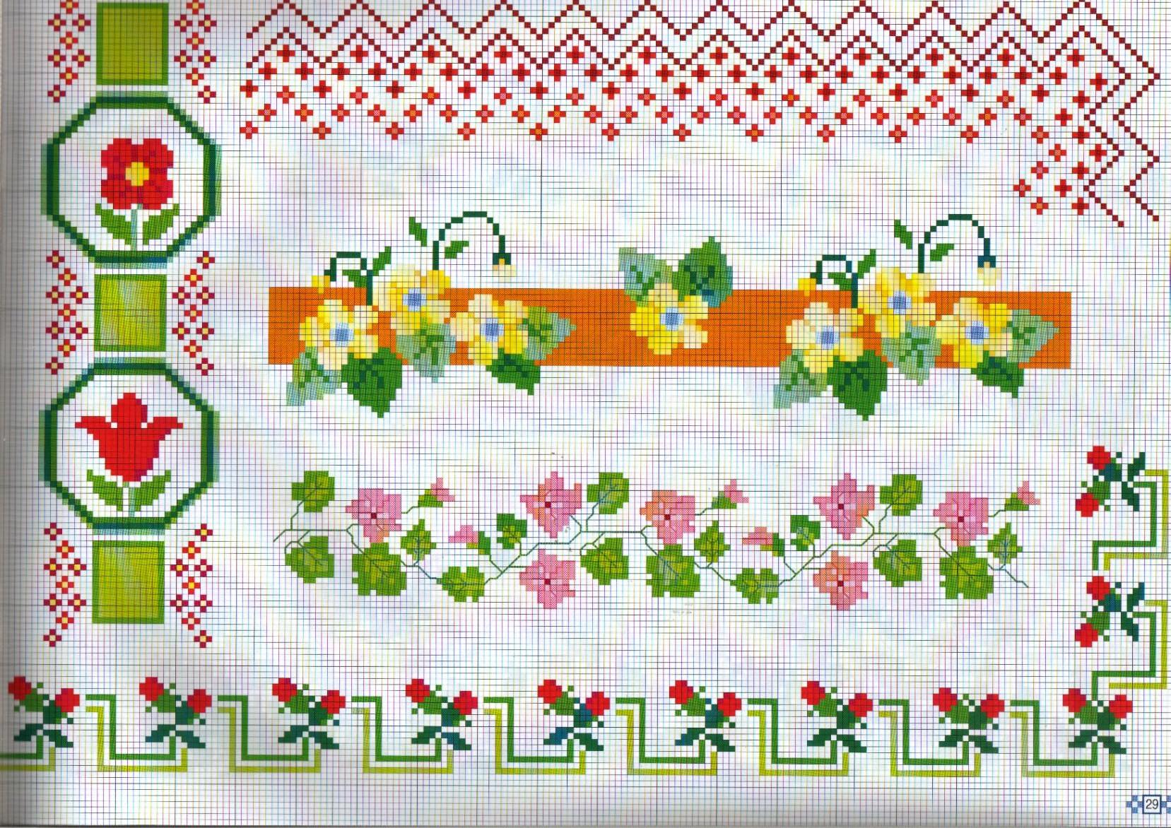 Bordure primule fiorellini punto croce for Bordi punto croce