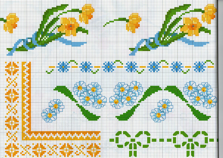 Vari bordi punto croce con fiori narcisi e margherite for Bordi punto croce