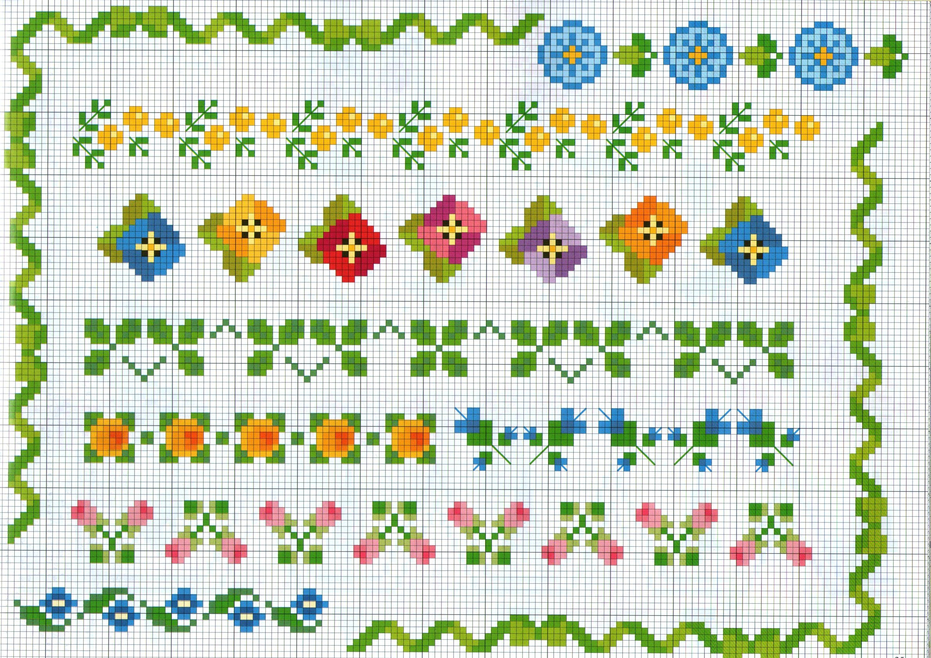 Vari bordi punto croce con piccoli motivi fiorellini for Bordi punto croce